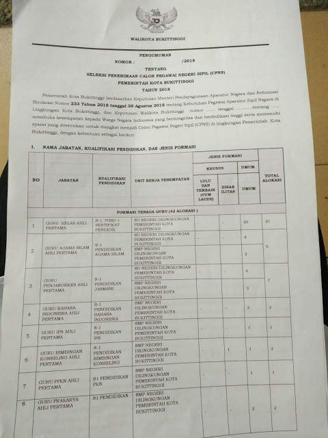 Formasi CPNS Kota Bukittinggi Tahun 2018 Terbaru